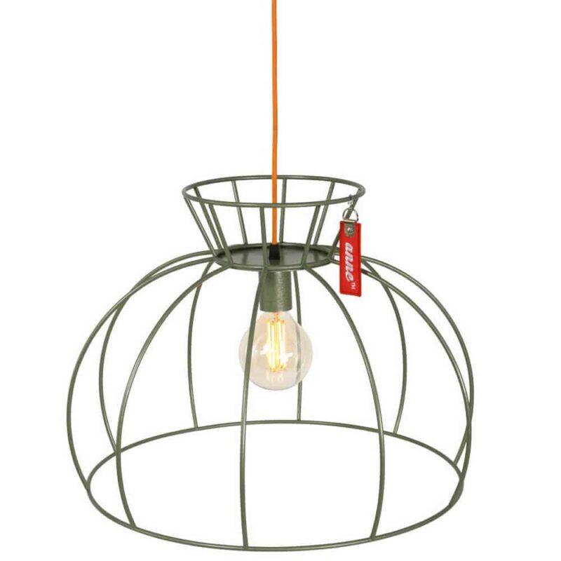 Anne Lighting | Crinoline Groen | Unieke lamp in prachtige kleur met hip oranje stoffen snoer | www.homeseeds.nl | # Anne Lighting # hanglamp # verlichting @ draadlamp