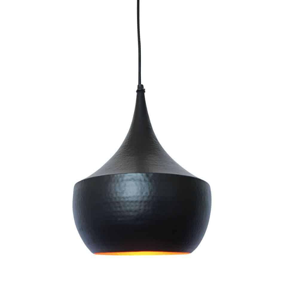 Hippe hanglamp Doll Zwart met koperen binnenzijde voor een mooi sfeervol licht | www.homeseeds.nl