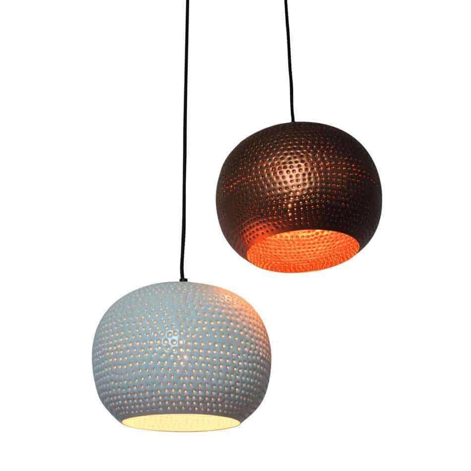 Leuke set hanglampen van Urban Interiors | hanglamp spike bol | Koper en wit | www.homeseeds.nl