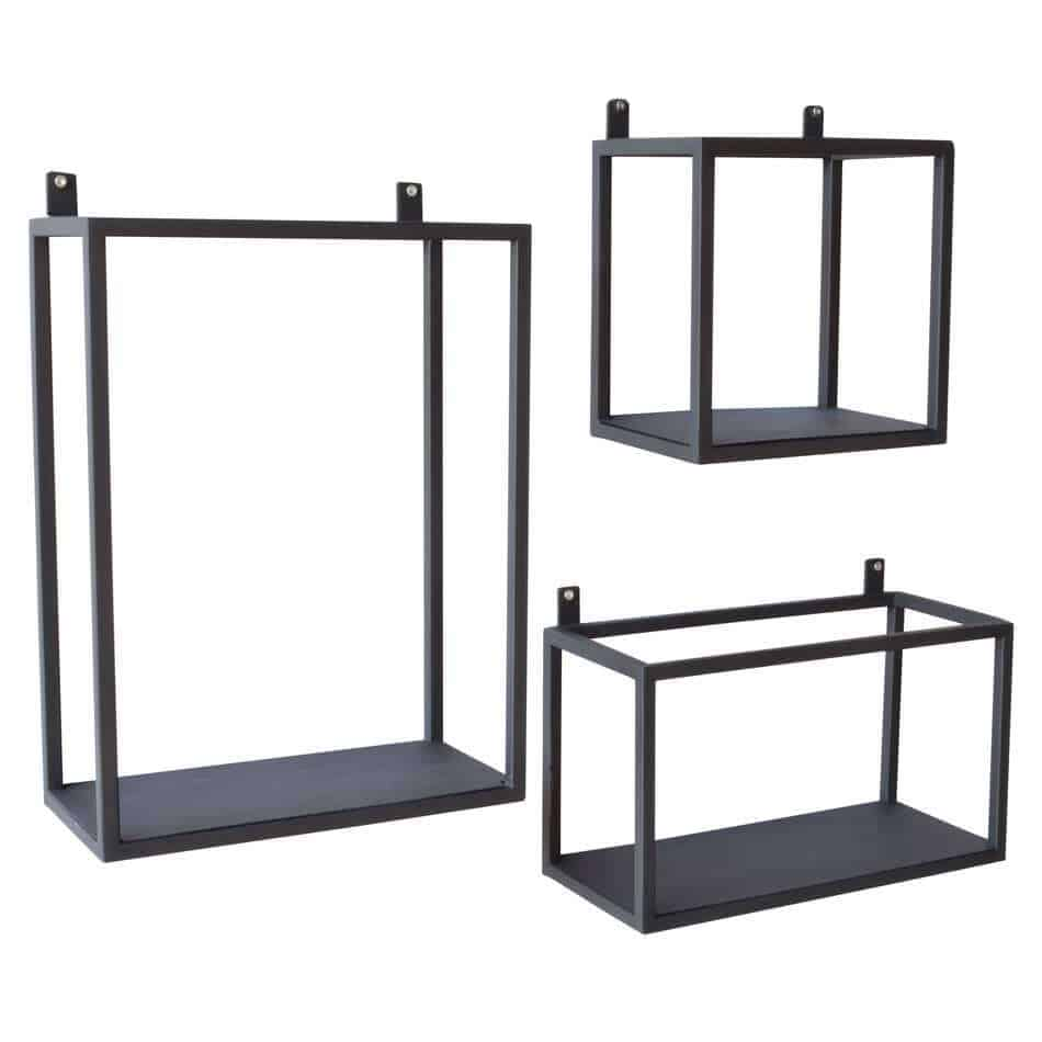 Urban interiors metalen wandrek set van 3 for Decoratie industrieel