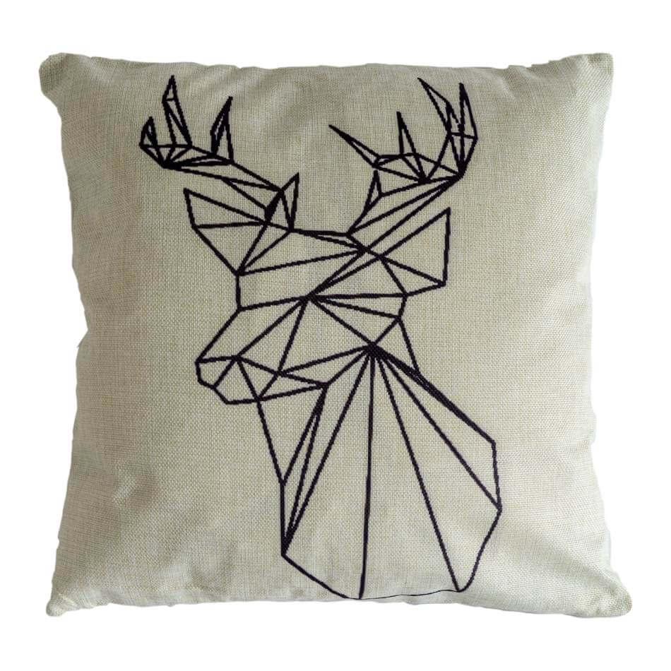 Geometrisch kussen deer art - sierkussen zacht met donsvulling