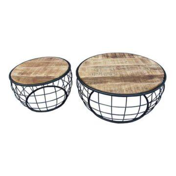 Bijzettafel Mango set draadstaal hout tafel   homeseeds.nl