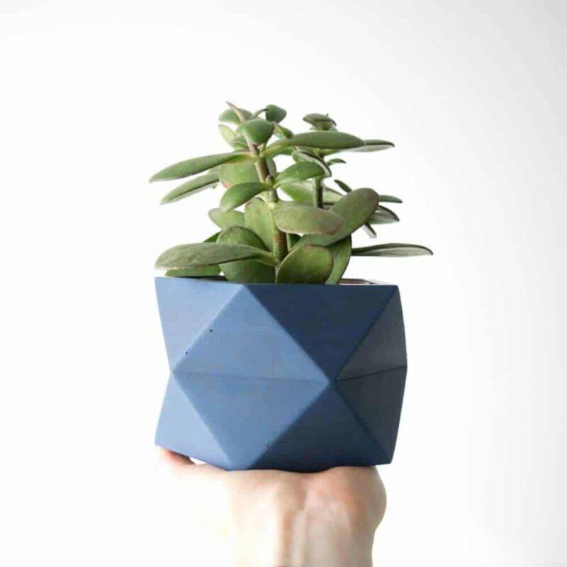 Palua geometrische bloempot van beton in blauw