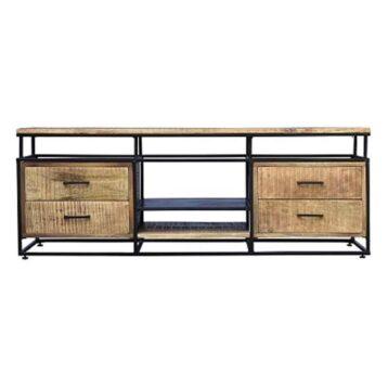 Industrieel tv meubel Paso van mangohout en zwart staal Stoer en robuust tv meubel