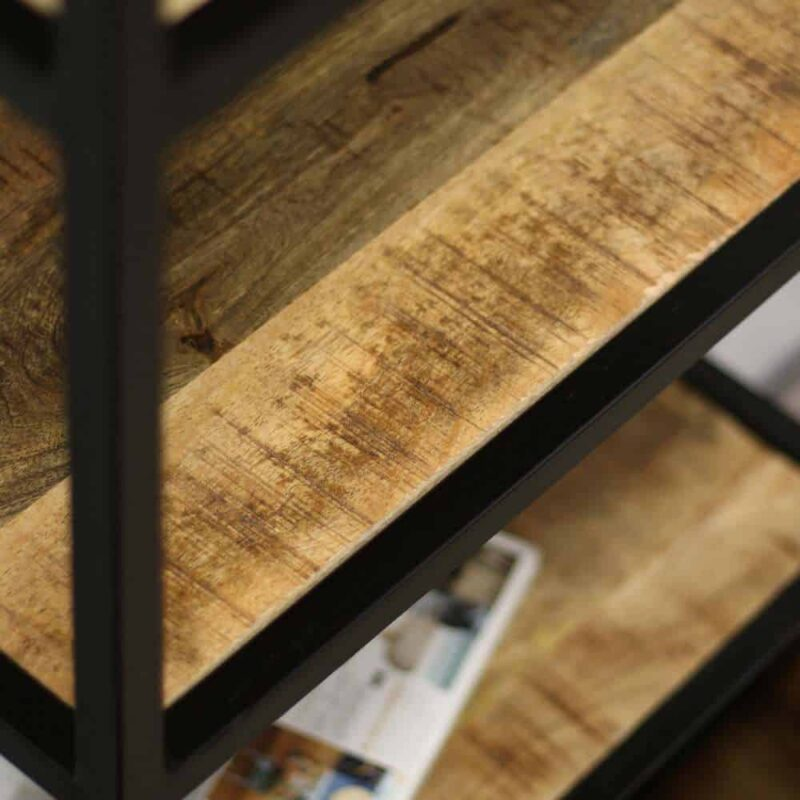 Zwart metalen kast met mangohout - Industriële open kast boekenkast wandkast