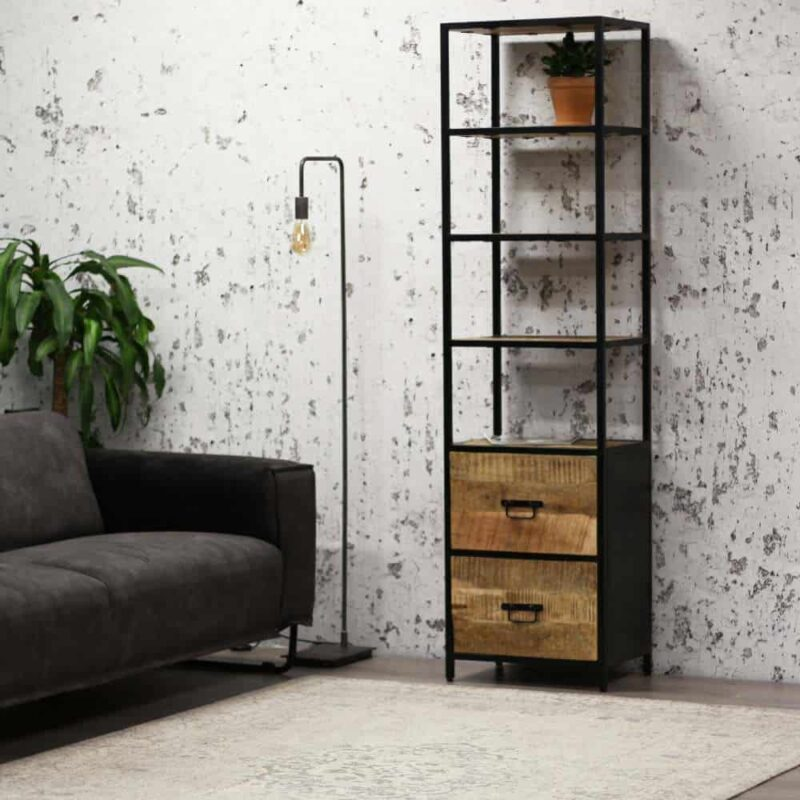 Industriële open kast mangohout zwart metaal boekenkast wandkast