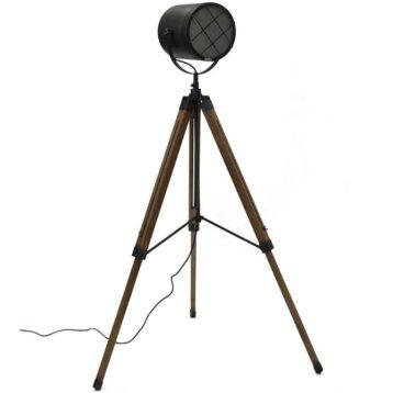 industriële vloerlamp view met houten driepoot