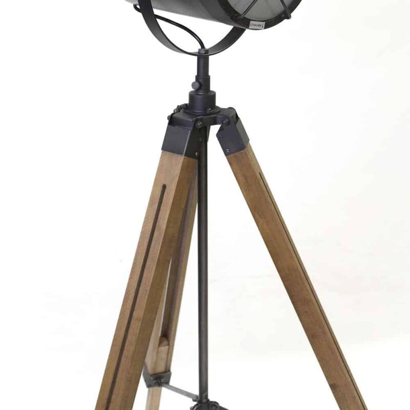 Industriele vloerlamp view spotlight met houten driepoot houten onderstel