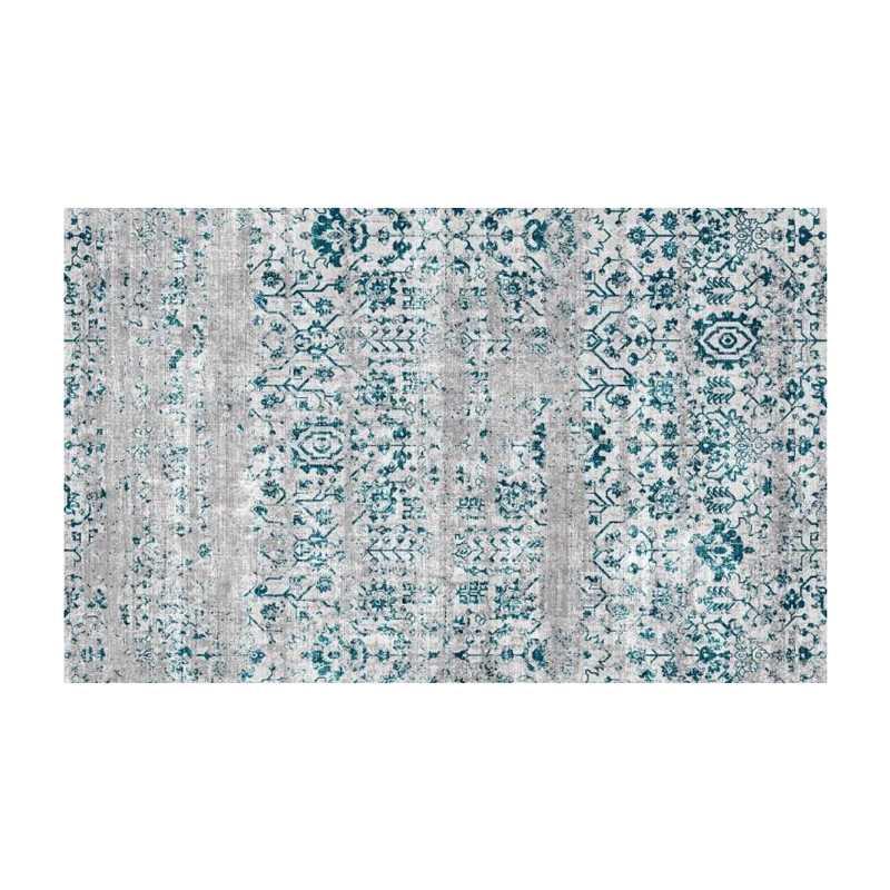 Industrieel vloerkleed wit blauw 160x230